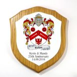 Coat of Arms Shield Plaque Family Crest Oak Veneer 7 inch PERSONALISED, ref FCLOP